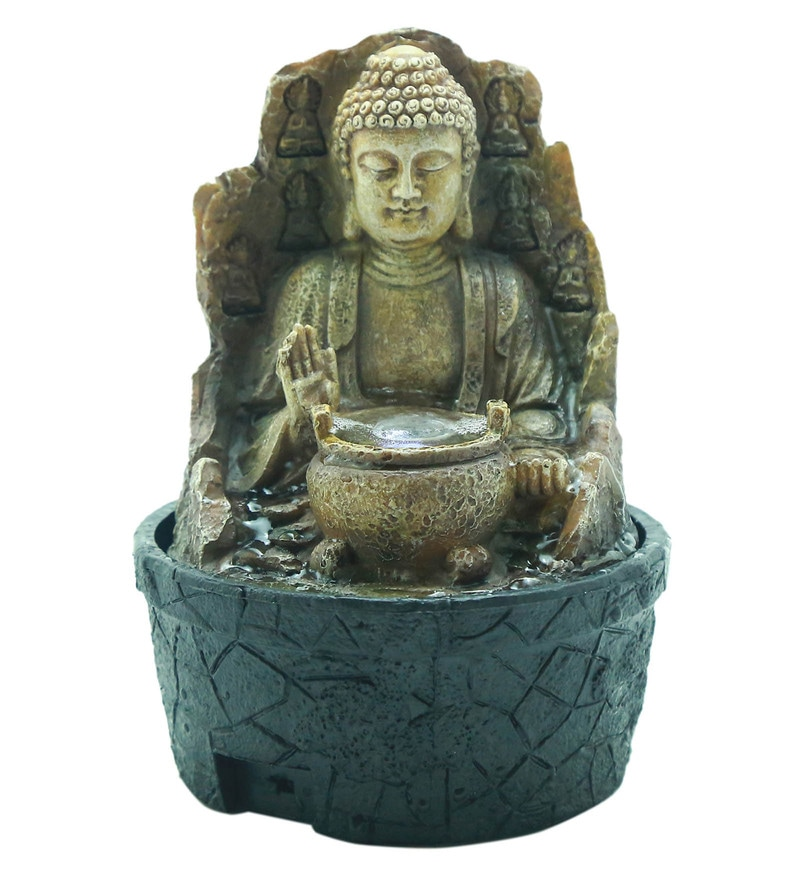 Antique Brown Polyresin Blessing Buddha Led Table Fountain by Importwala