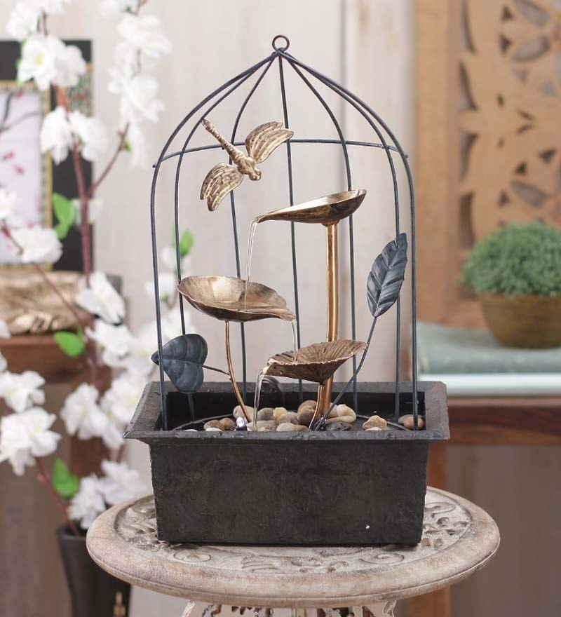 Brown & Gold Metal Cage with Led Light Fountain by Importwala