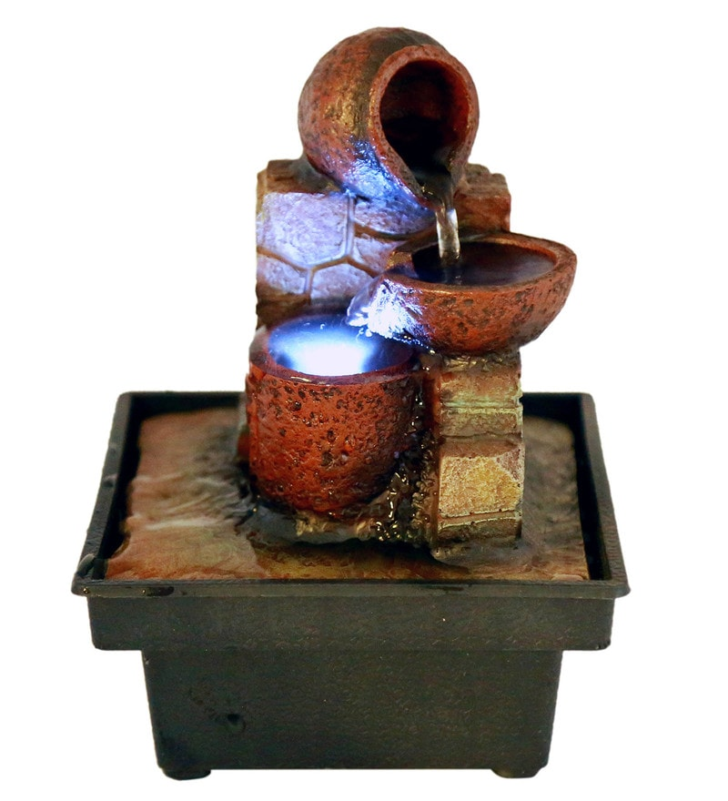 Brown Polyresin Step Pots Led Water Fountain by Importwala