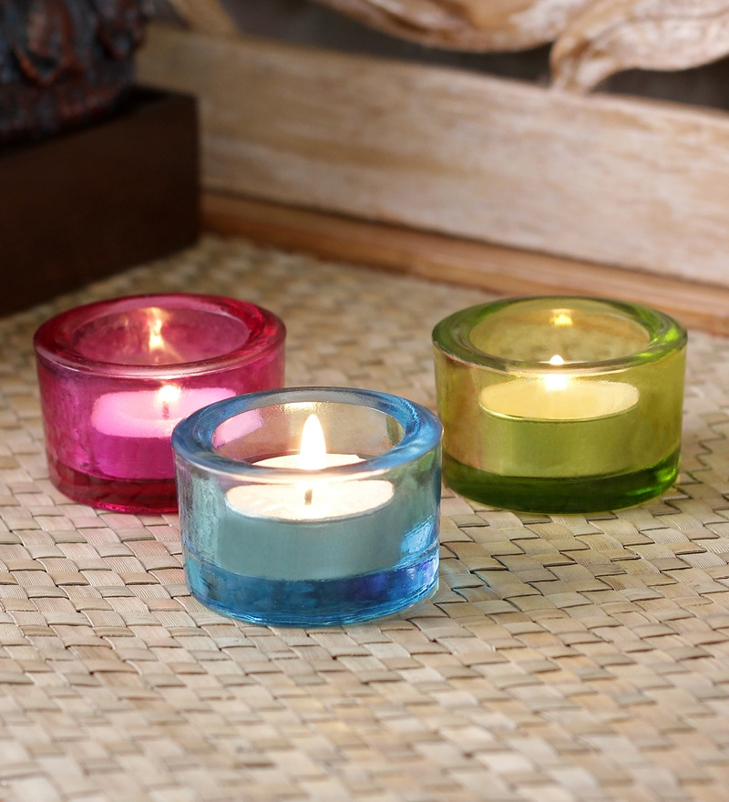 Importwala Multicolor Glass Round Votive Holder - Set of 3