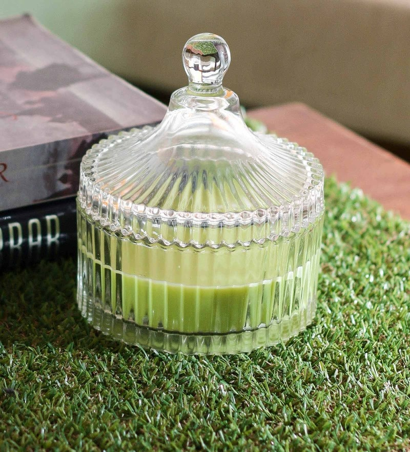 Importwala Green Apple Scented Candle Glass Jar