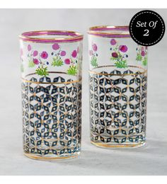 India Circus Flowers & Ferns Tall Glass 400 ML Tumblers - Set Of 2