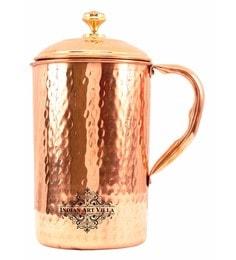 Indian Art Villa Copper 1450 ML Jug With Brass Designer Lid