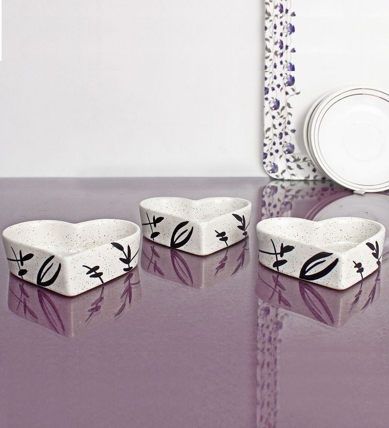 Indeasia Srijan White Stoneware 180 ML Small Floral Serving Bowl - Set of 3