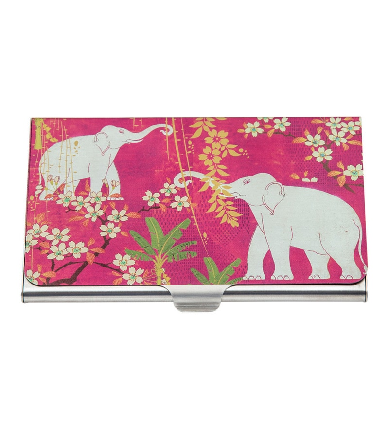 India Circus Scarlet Tusk Steel Multicolour Visiting Card Holder