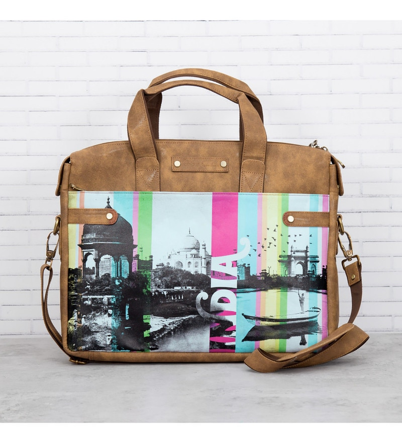 India Circus Strokes of India Faux Leather Multicolour Laptop Bag