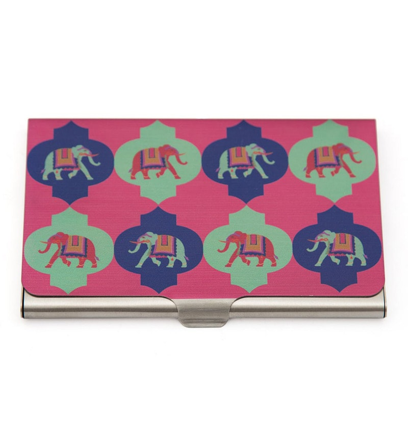India Circus Tusker Treat Steel Visiting Card Holder