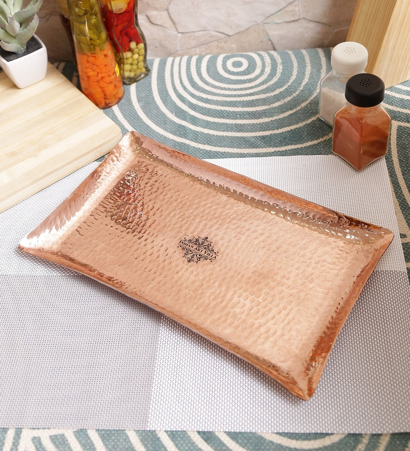 Indian Art Villa Hammered Brown Pure Copper Tray