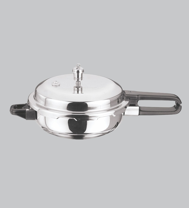 c5932cec8fe Induction Base Sandwich Bottom Stainless Steel Pressure Pan with Lid- 2 Ltr