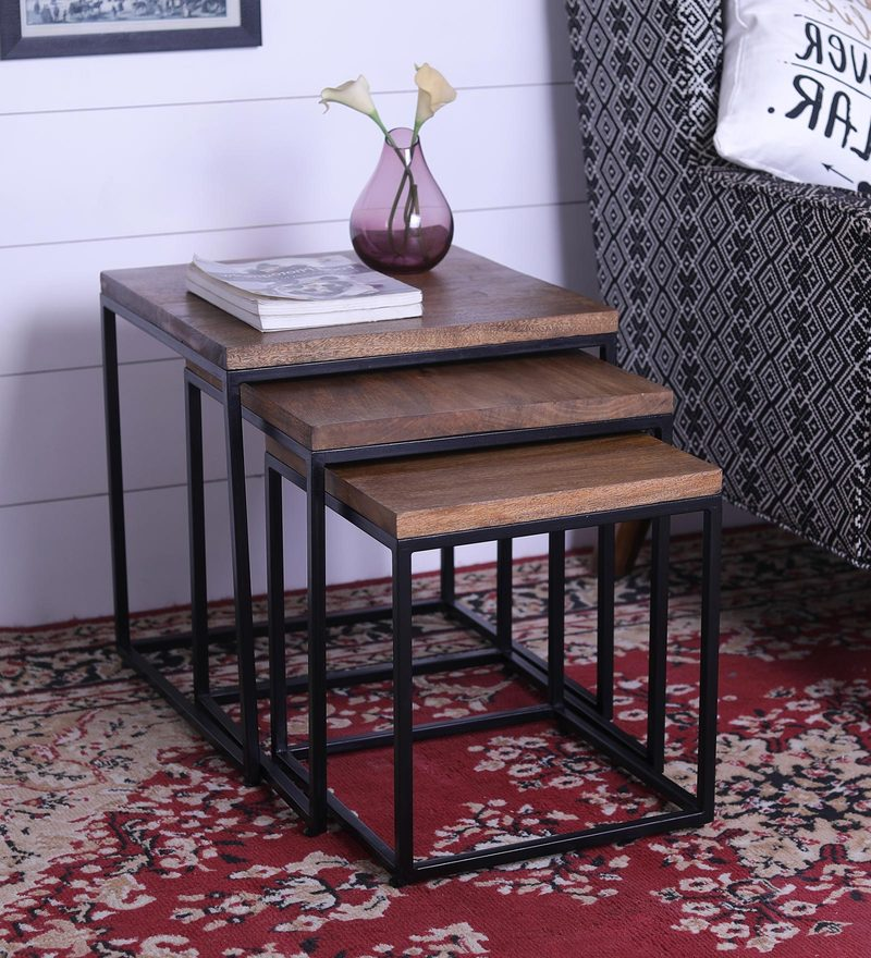 Industrial Style Nesting Table (Set of 3) with Black by Asian Arts