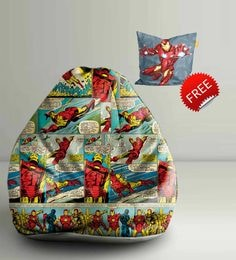 Iron Man Comic Digital Printed Bean Bag XXL Filled With Beans