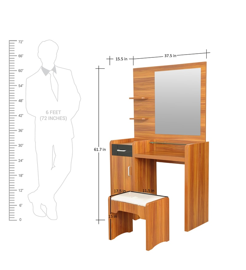 Buy Iris Dressing Table With Stool In Maple Finish By