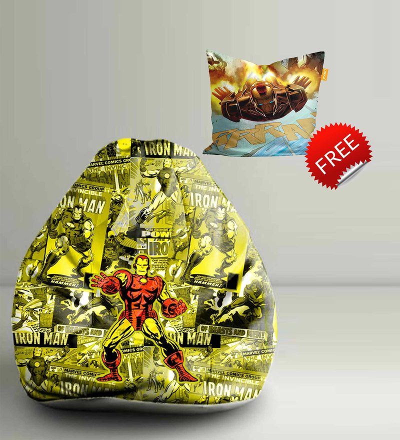 Iron Man Comics Digital Printed Bean Bag XXL Filled with Beans by Orka(With Small - cushion Inside)