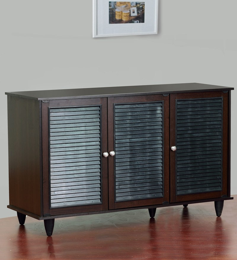 Isao Three Door Shoe Cabinet in Wenge Finish by Mintwud