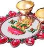 Pink Lakshmi Multicolor Acrylic Haldi Kum Kum Holder by Itiha
