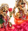 Multicolour Metal Lakshmi Ganesh Lotus Idol by Itiha