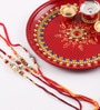 Itiha Multicolour Metal Moti Pooja Thali Set with Rakhis