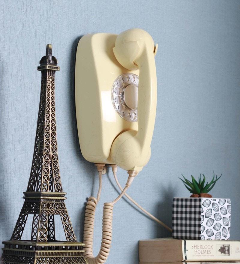 Ivory Plastic Wall Hanging Telephone by Zahab