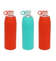 Izizi Red & Green 1 Litre Glass Water Bottles With Silicone Sleeve - Set Of 3