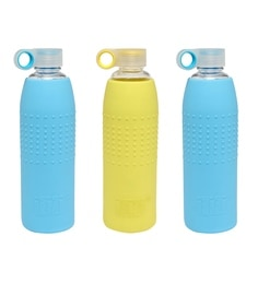 Izizi Yellow & Blue 1 Litre Glass Water Bottles With Silicone Sleeve - Set Of 3