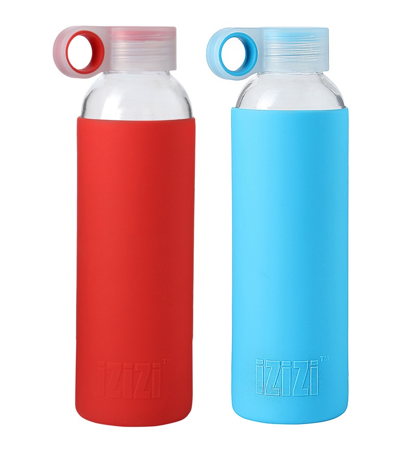 Izizi Blue & Red Glass 500 ML Bottle with Silicone Sleeve - Set of 2
