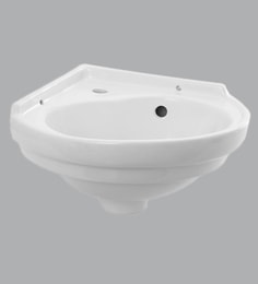 Jaaz Polar Ceramic White Wall Hung Corner Mount Basin