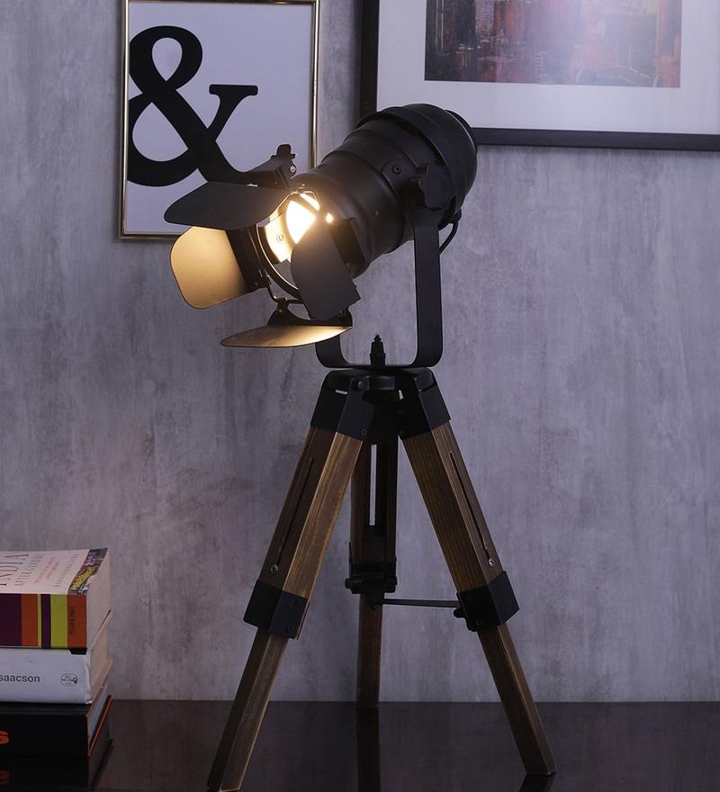 Black Aluminium Table Tripod Lamp by Jainsons Emporio