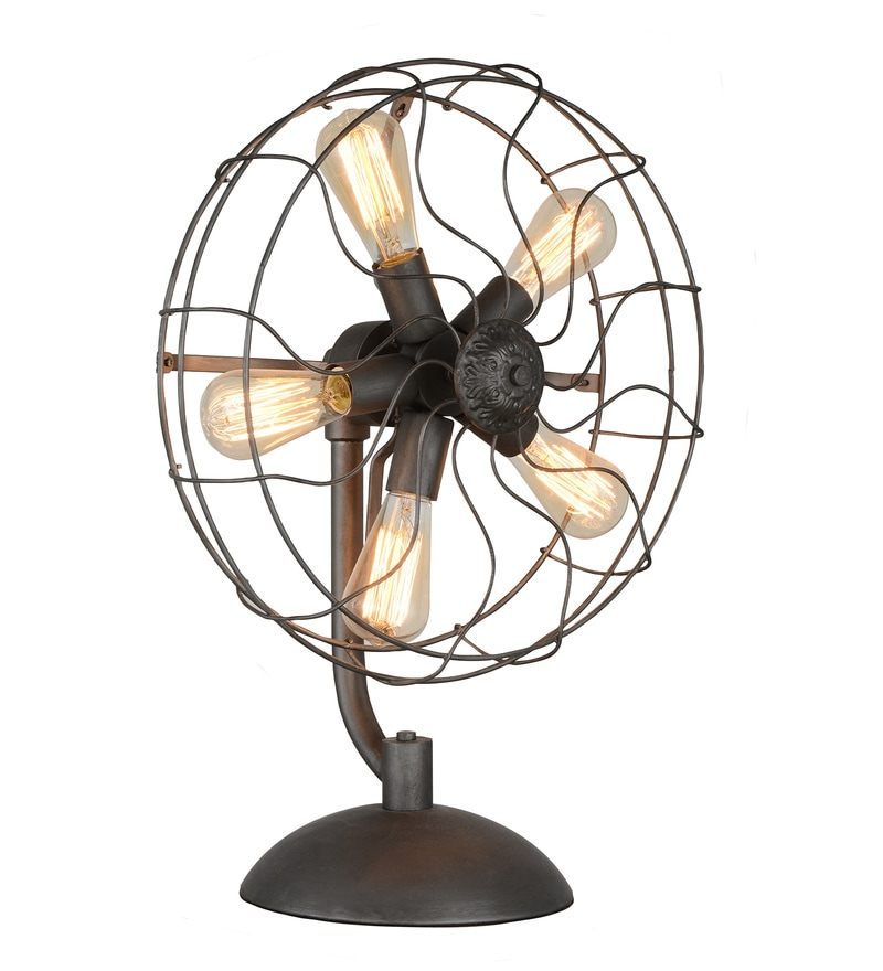 Black Steel Vintage Fan Table Lamp by Jainsons Emporio