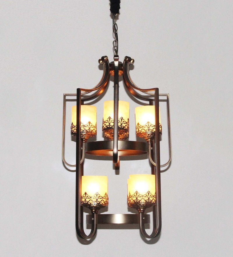 Gold Glass Selville Vintage Double Level 8 Light Chandelier by Jainsons Emporio