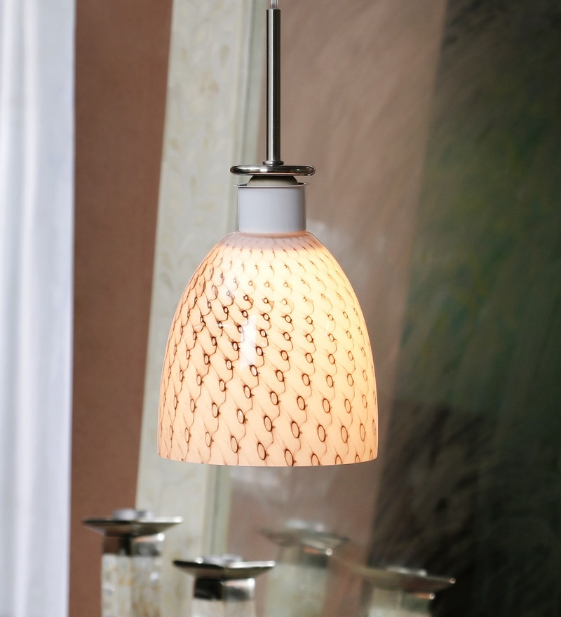 Siome Design White Metal Pendant Lamp by Jainsons Emporio