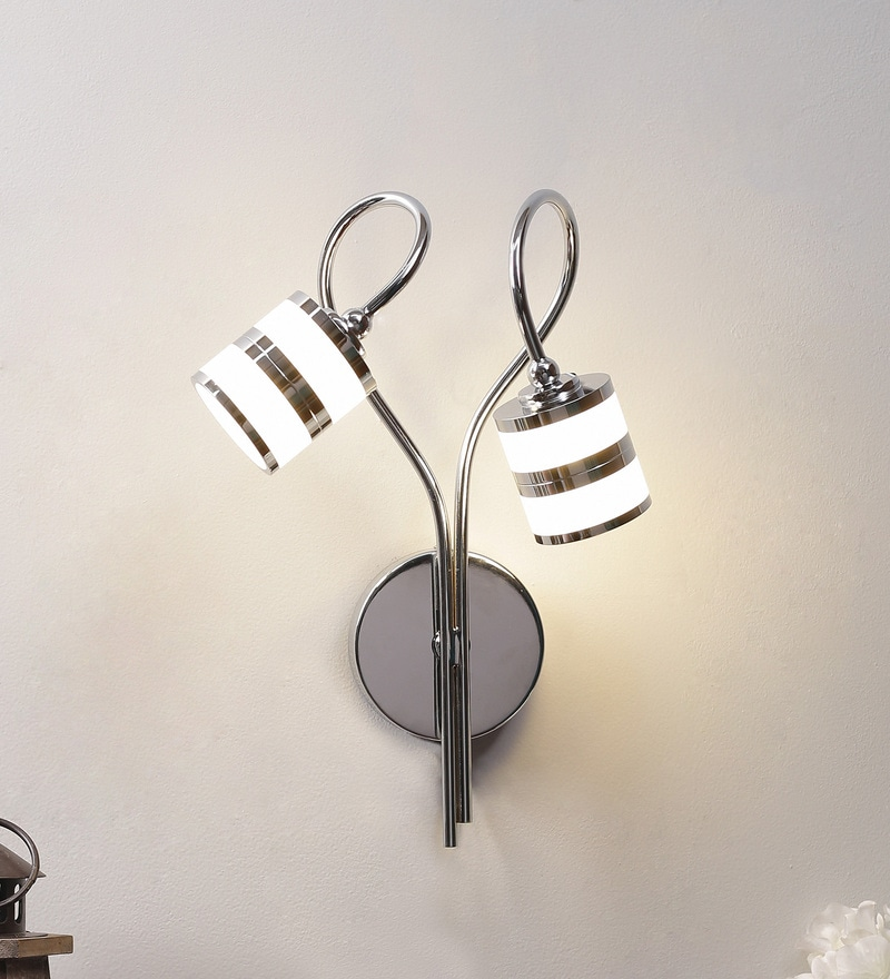 White & Silver Aluminium & Glass Wall Mounted Light by Jainsons Emporio