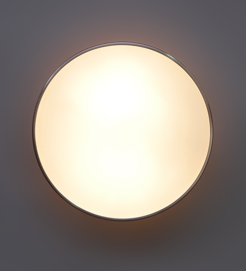 White Glass Flush Mounted Light by Jainsons Emporio