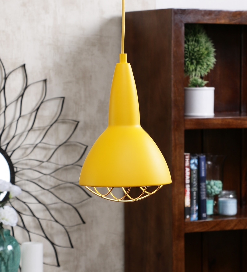 Yellow Metal Grid Pendant Lamp by Jainsons Emporio