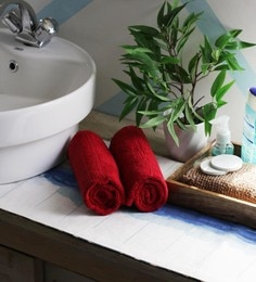 JBG Home Store Maroon 100% Cotton 16 X 24 Inch Hand Towel - Set Of 2