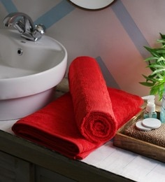 JBG Home Store Red 100% Cotton 30 X 72 Inch Bath Towel - Set Of 2