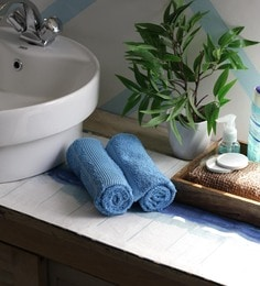 JBG Home Store Sky Blue 100% Cotton 16 X 24 Inch Hand Towel - Set Of 2