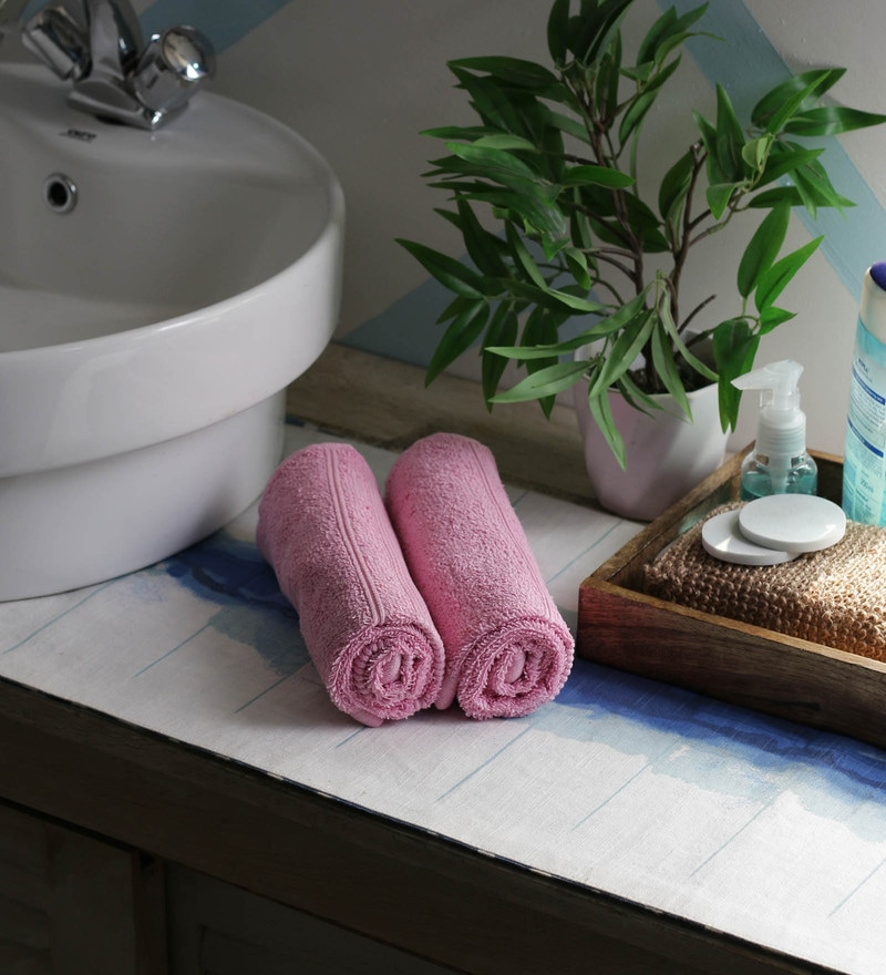 JBG Home Store Pink 100% Cotton 16 x 24 Inch Hand Towel - Set of 2
