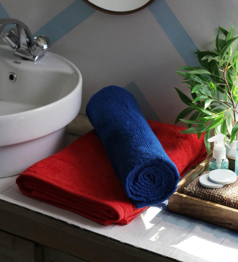JBG Home Store Red & Royal Blue 100% Cotton 30 x 72 Inch Bath Towel - Set of 2