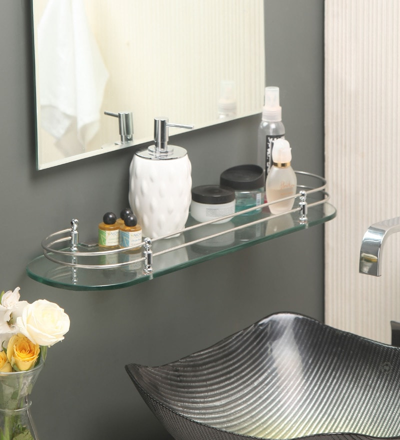 Jest Transparent Glass Bathroom Shelf
