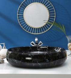 JJ Sanitaryware Ceramic Black Wash Basin (Model:JJb-54)