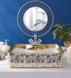 JJ Sanitaryware Ceramic Golden Bathroom Wash Basin