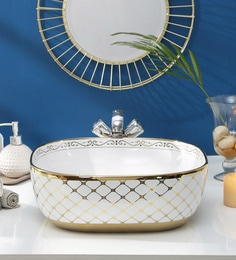 JJ Sanitaryware Ceramic Golden White Wash Basin (Model:JJb-38)