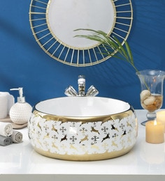 JJ Sanitaryware Ceramic Golden White Wash Basin (Model:JJb-44)