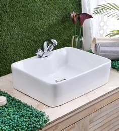 JJ Sanitaryware Ceramic White Bathroom Wash Basin - 1675002