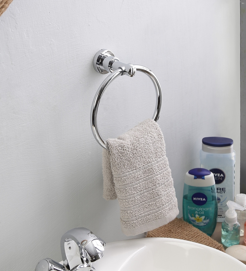JJ Sanitaryware 1501 Silver Brass 6.7 x 3 x 9.7 Inch Towel Ring