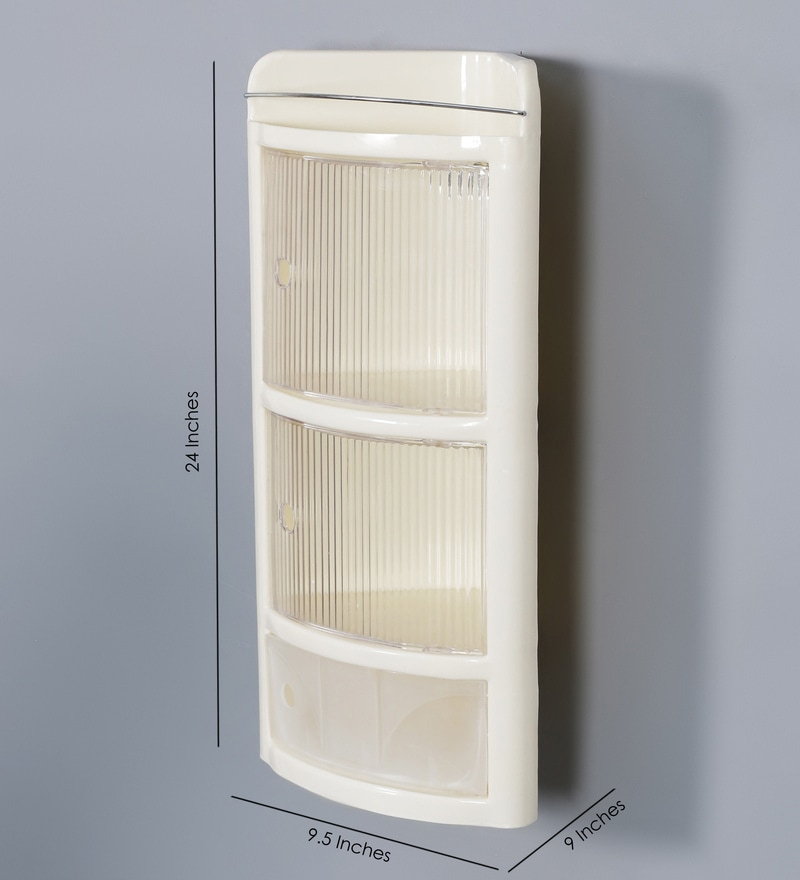 Buy Ivory Plastic Three Shelves Corner Bathroom Cabinet Online Bathroom Cabinets Bath