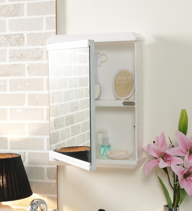 Buy Plastic Ivory 6 Compartment Bathroom Cabinet With Mirror