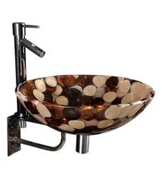 Joyo Cera Brown & Golden Resin Wash Basin With Stand,Extantion Body Pillar Tap & Brass Waste Coupling (Model: Joyo Cera 238)