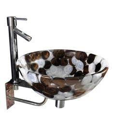 Joyo Cera Brown & White Resin Wash Basin With Stand,Extantion Body Pillar Tap & Brass Waste Coupling (Model: Joyo Cera 222)
