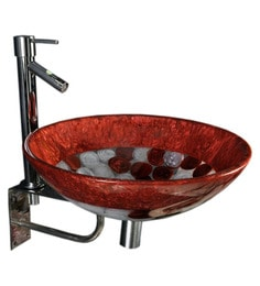 Joyo Cera Copper & White Resin Wash Basin With Stand,Extantion Body Pillar Tap & Brass Waste Coupling (Model: Joyo Cera 253)